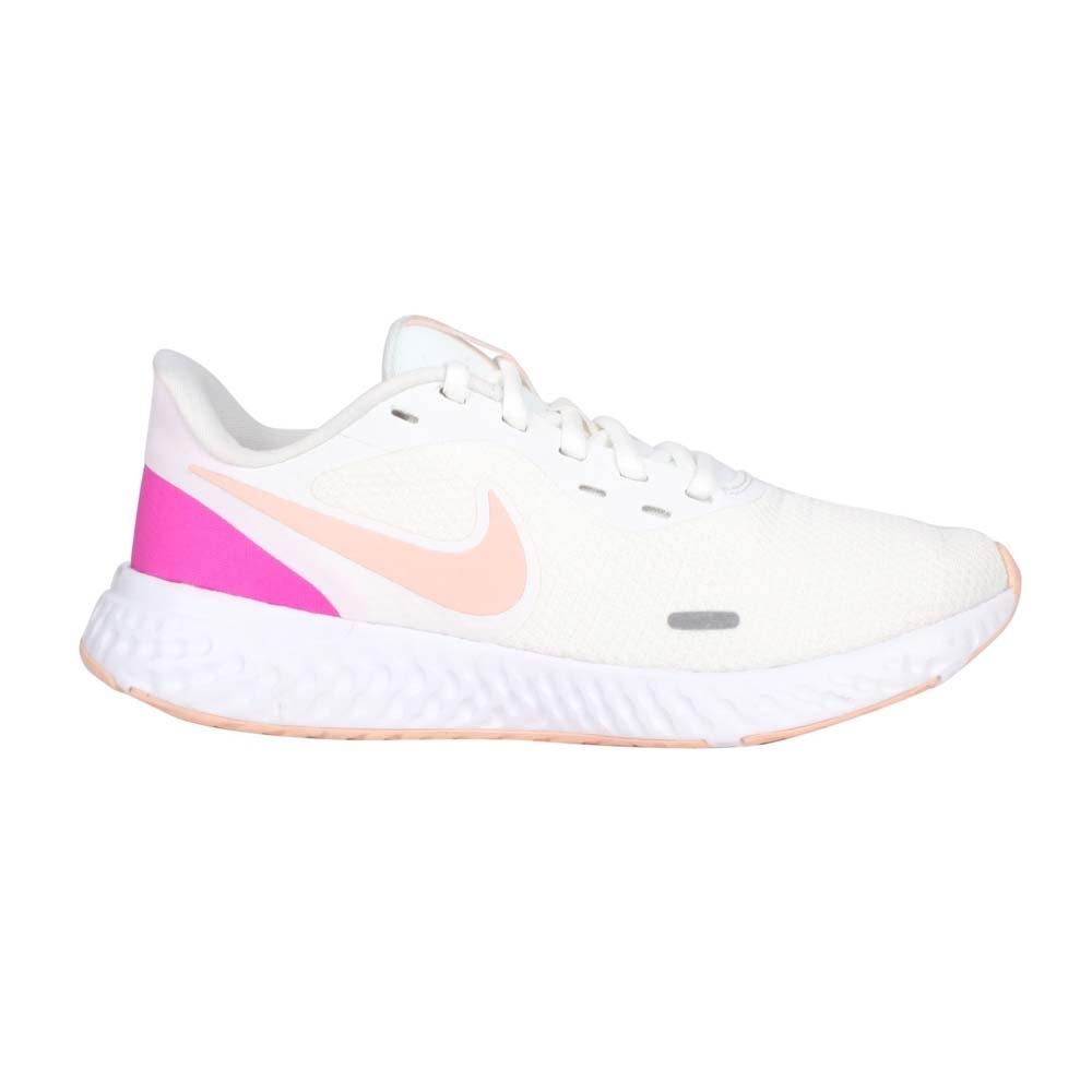 NIKE WMNS REVOLUTION 5 女慢跑鞋-休閒 路跑 反光 輕量 BQ3207103 米白紫粉橘