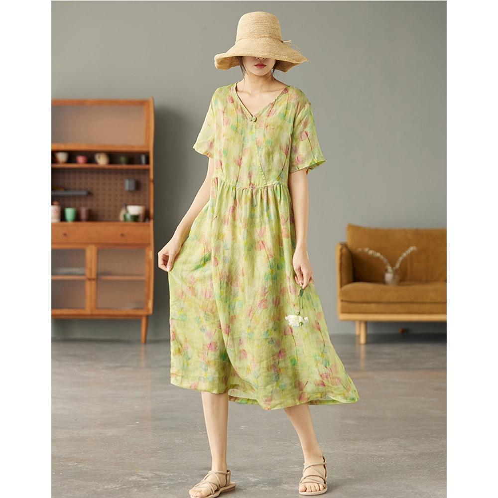 複古V領苧麻顯瘦印花棉麻洋裝三色可選-設計所在