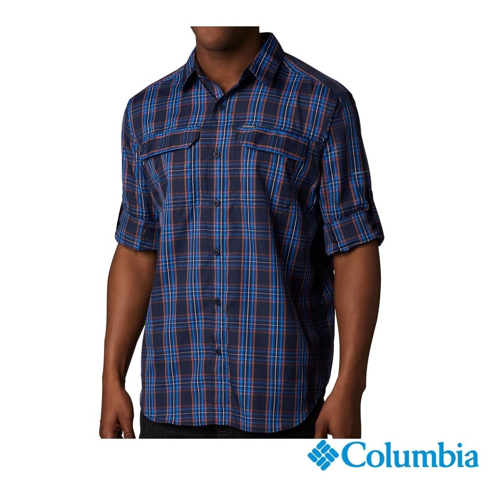 Columbia 哥倫比亞男款-防曬50快排短袖襯衫-藍格紋 UAE06490