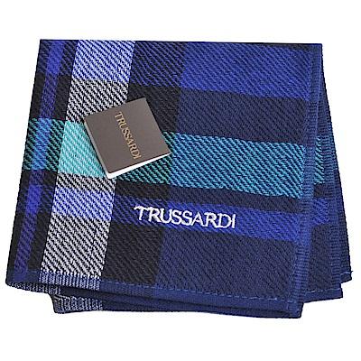 TRUSSARDI 正方格圖紋字母刺繡LOGO小方巾(深藍底)