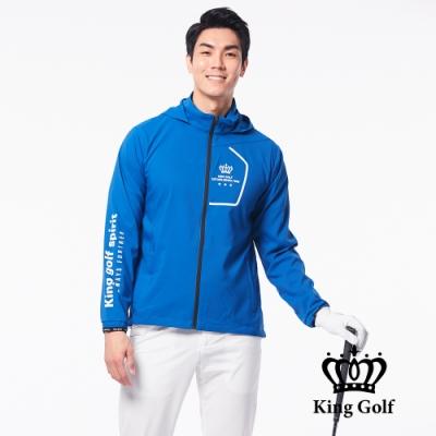 【KING GOLF】LOGO印圖防風防水連帽長袖薄外套-藍色