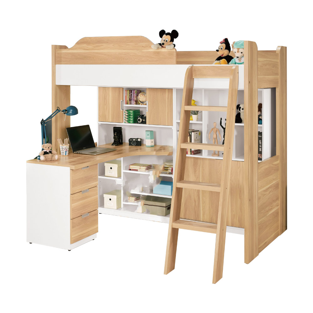 文創集 迪亞3.5尺床台(單人床+書桌+書櫃+不含床墊)-155x195x180cm免組