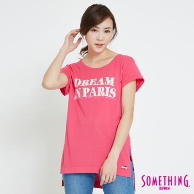 SOMETHING 巴黎夢想LOGOT恤-女-桃紅色