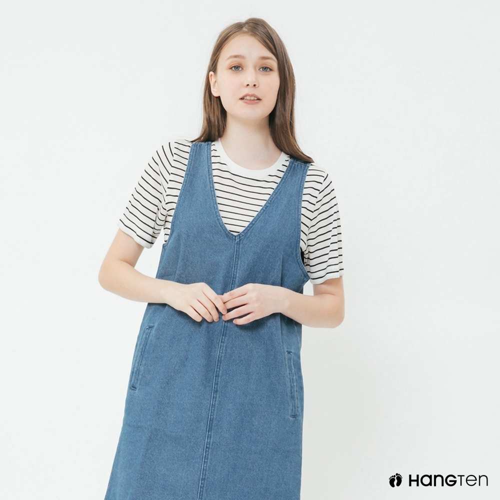 Hang Ten - 女裝 - 甜美牛仔背心連身裙 - 藍