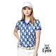 【Lynx Golf】女款吸汗速乾羅紋領活潑塗鴉印花短袖POLO衫-藍色 product thumbnail 2