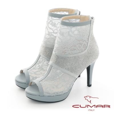 【CUMAR】優雅化身鏤空透感排鑽魚口高跟短靴-灰