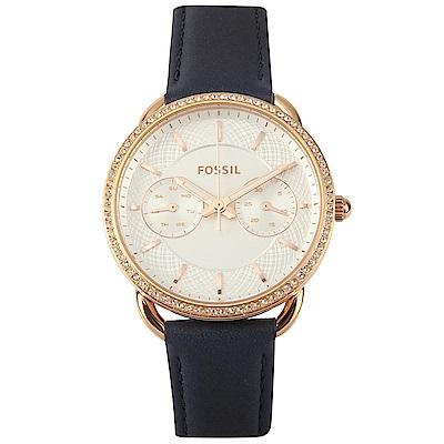 FOSSIL Tailor 水晶玫瑰休閒皮革腕錶-(ES4394)-34mm