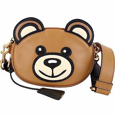 MOSCHINO Teddy 泰迪熊造型小牛皮肩背包(焦糖咖)