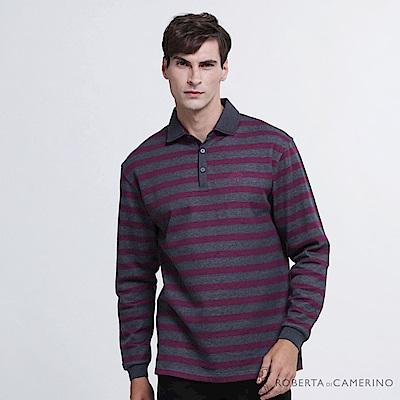 ROBERTA諾貝達 台灣製 都會時尚 橫紋純棉長袖POLO衫  灰紫