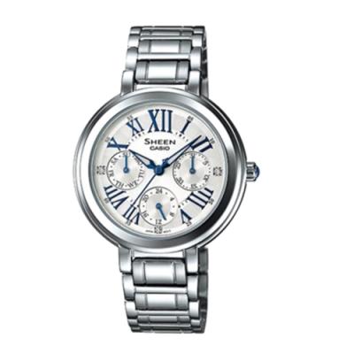 CASIO卡西歐 羅馬數字三眼施華洛世奇女腕錶(SHE-3034D-7A)-銀色x34mm