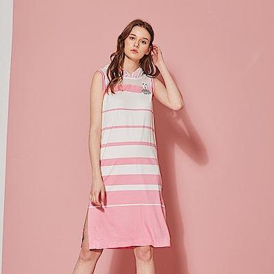 ICHE 衣哲 輕時尚連帽拼接針織條紋印花洋裝-櫻花粉