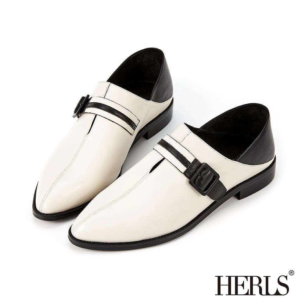 HERLS樂福鞋-全真皮兩穿撞色橫帶造型拼接樂福鞋-白色
