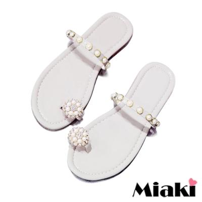Miaki-拖鞋珍珠韓風平底涼鞋-白