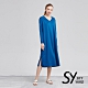 【SKY YARD 天空花園】悠閒長袖披肩領長版洋裝-藍色 product thumbnail 1