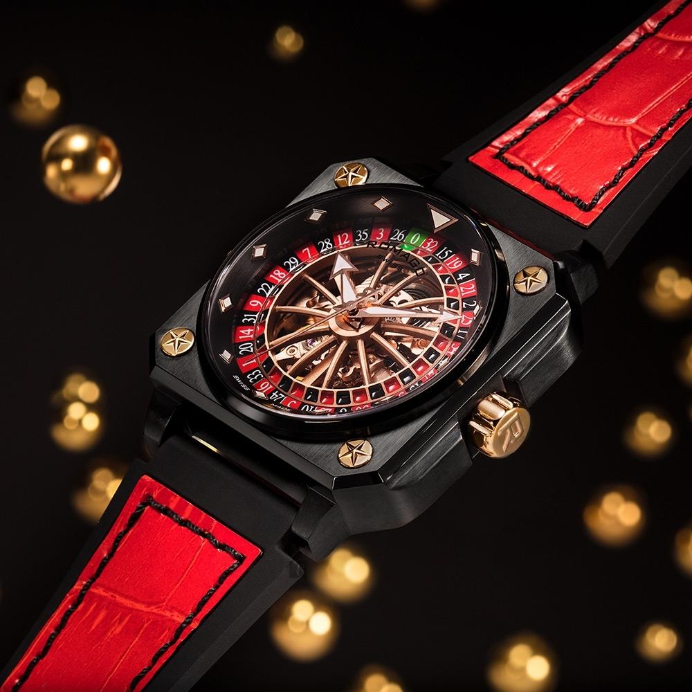ROMAGO帝霸系列 輪盤鏤空機械錶-黑色/46.5mm