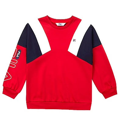 FILA KIDS 童吸濕排汗刷毛長版上衣-紅 5TES-8417-RD