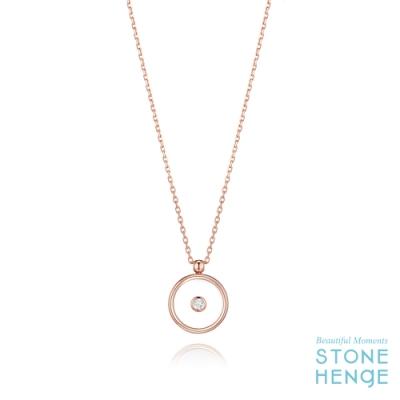 STONEHENGE 斯通亨奇 14K玫瑰金圓形造型藍寶石玻璃鋯石項鍊