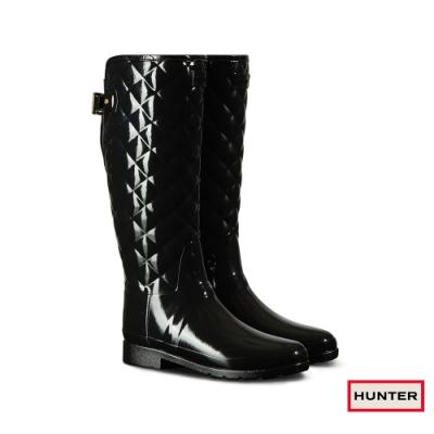 HUNTER -   女鞋 - Refined菱格紋亮面長靴-黑