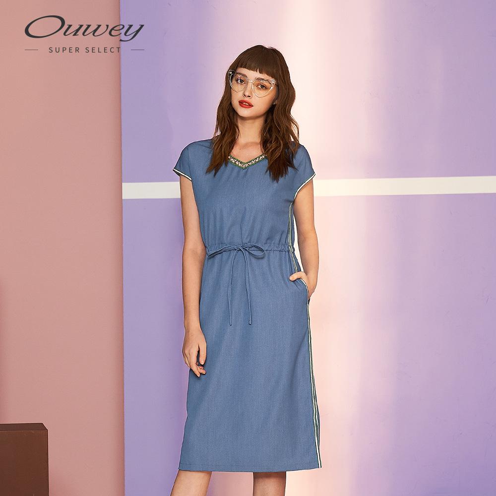 OUWEY歐薇 仿牛仔運動風連袖洋裝(藍)
