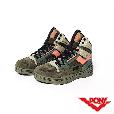 【PONY】M100系列-復古籃球鞋款-女-軍綠