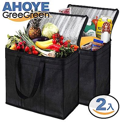 GREEGREEN 手提式保冷袋購物袋2入 (保溫袋保冰袋)