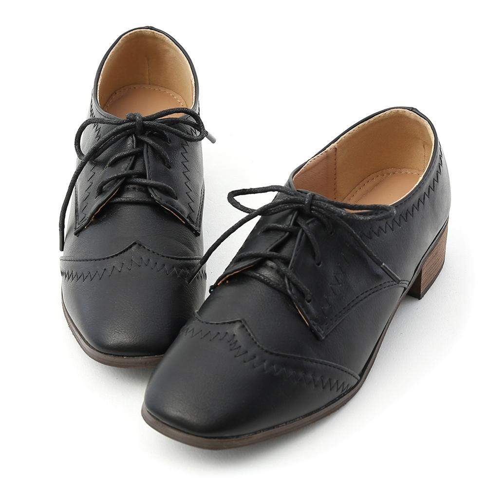 D+AF 英倫典範.拷克車線方頭綁帶牛津鞋*黑