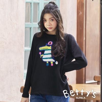 betty's貝蒂思 長版圓領立體繡線上衣(黑色)