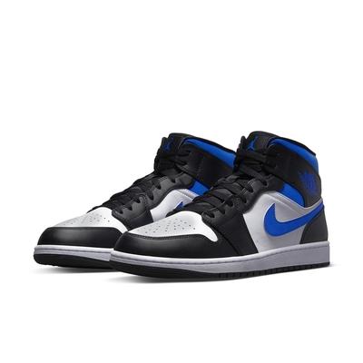 NIKE 耐吉 籃球鞋 AJ 喬丹 運動鞋 男鞋 黑白藍 554724-140 AIR JORDAN 1 MID
