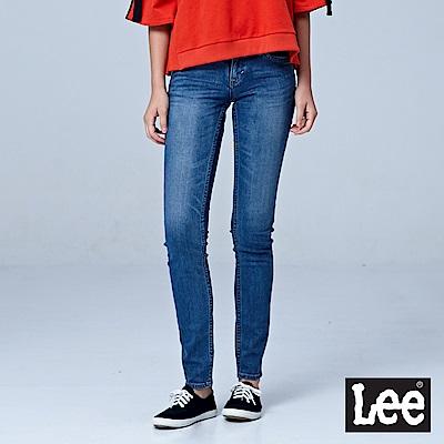 Lee 402超低腰緊身窄管牛仔褲/RG-中藍色