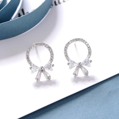 梨花HaNA 韓國925銀蝴蝶結細緻圈圈鑽石耳環