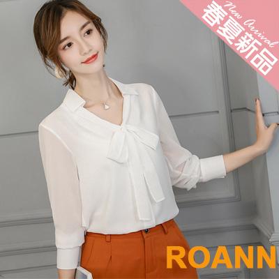 純色V領蝴蝶結綁帶透膚雪紡襯衫 (共三色)-ROANN