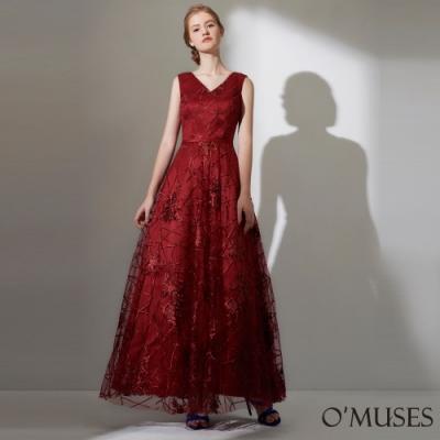 OMUSES 重工V領蕾絲刺繡馬甲式綁帶長禮服
