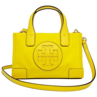TORY BURCH ELLA 專櫃款 尼龍迷你斜背包/手提包-黃色