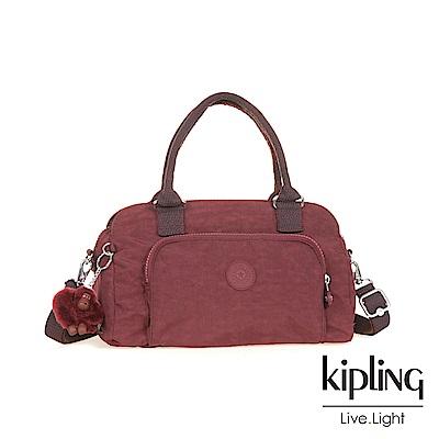 Kipling高雅酒紅前袋手提包