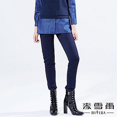 【麥雪爾】簡約金屬扣飾休閒長褲