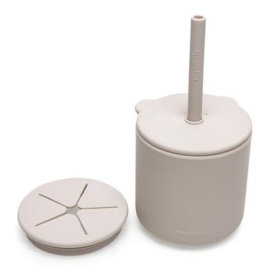 新加坡bopomofo 小熊鉑金矽膠水杯零食杯組-灰色
