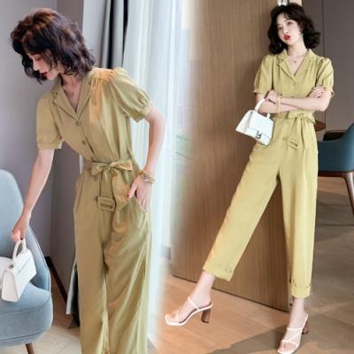 輕鬆穿搭腰部繫帶修身連體褲S-XL(共三色)-SZ