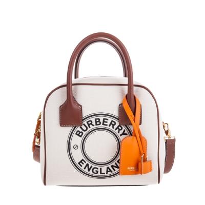 BURBERRY 新款小型標誌圖案棉質帆布 Cube 手提/肩背保齡球包