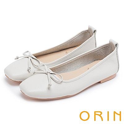 ORIN 氣質女孩 經典素面牛皮平底娃娃鞋-米白