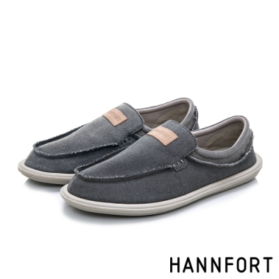 HANNFORT COZY可機洗帆布氣墊懶人鞋-男-沈穩灰