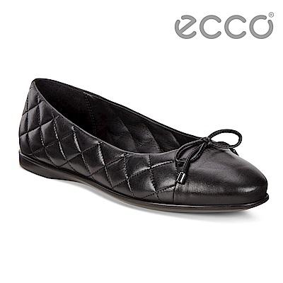ECCO INCISE ENCHANT細緻菱格素色平底娃娃鞋 女-黑