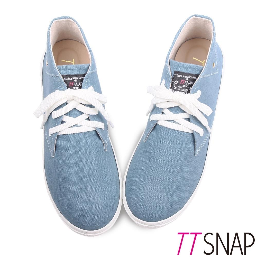 TTSNAP休閒鞋-MIT細緻水洗帆布綁帶厚底鞋 藍