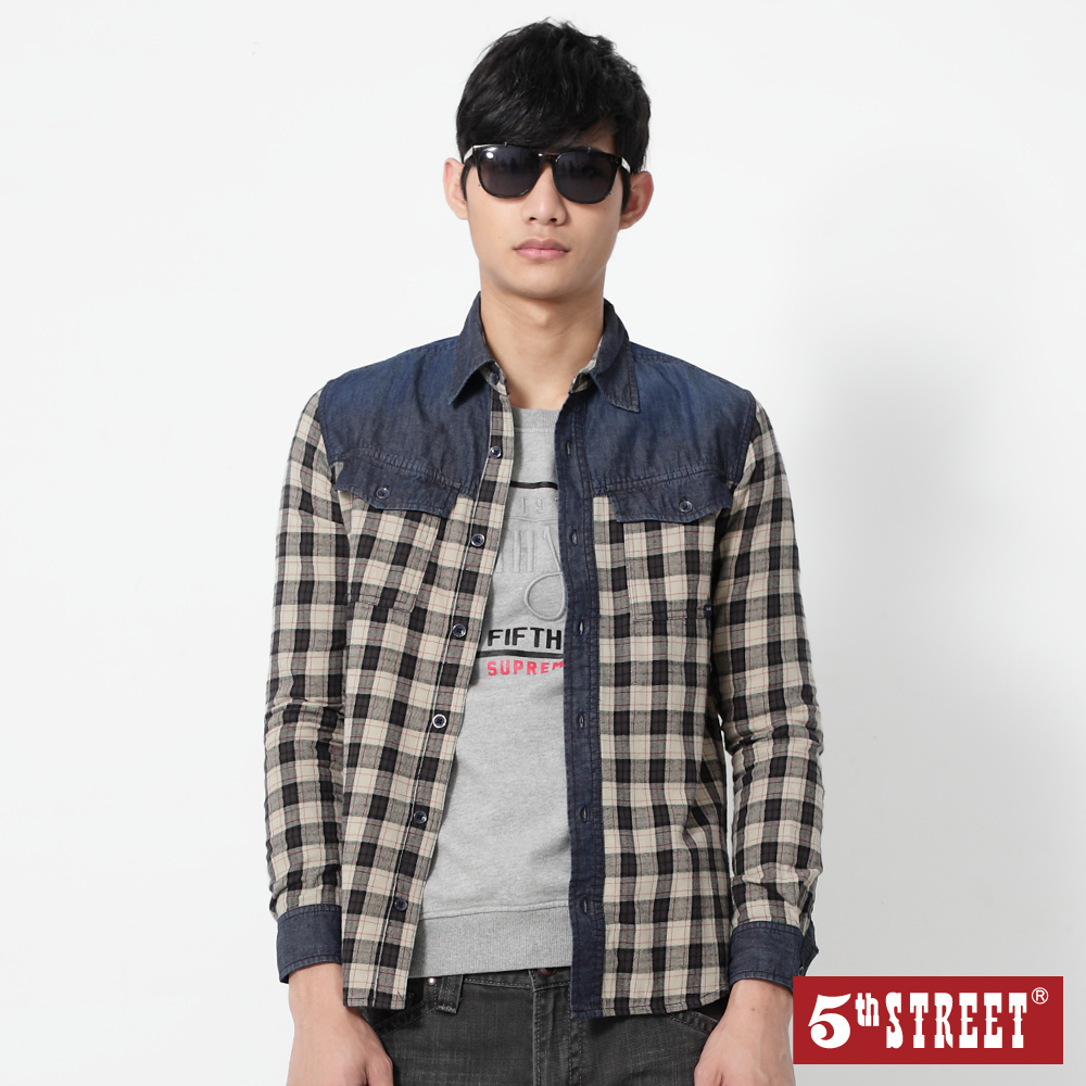 5th STREET 拼接配色格紋襯衫-男-黑色