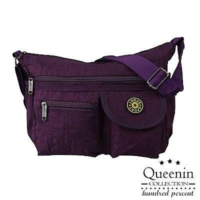 DF Queenin - 尼龍風潮不敗經典防潑水側背包-深紫