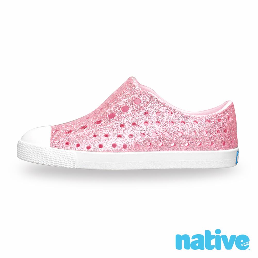 native 大童鞋 JEFFERSON 小奶油頭鞋-星鑽粉x貝殼白