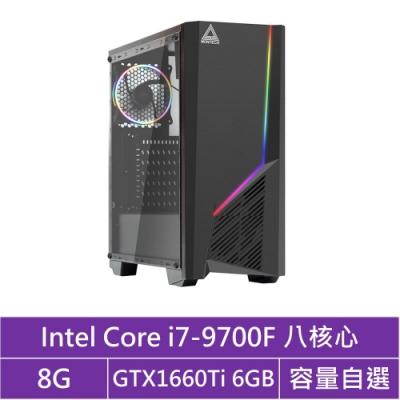 華碩B365平台[曜日極光]i7八核GTX1660Ti獨顯電腦