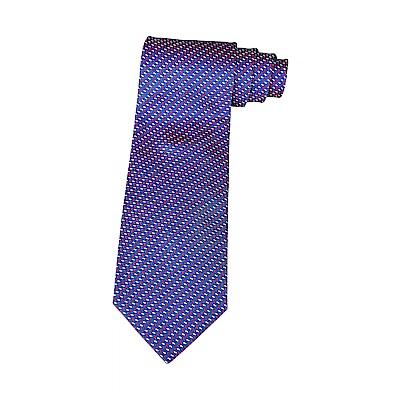 HERMES愛馬仕SOFT TOUCH經典緹花LOGO紅藍線設計蠶絲領帶(海洋藍x紅)