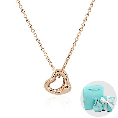 Tiffany&Co. Elsa Peretti迷你18K玫瑰金鏤空愛心項鍊
