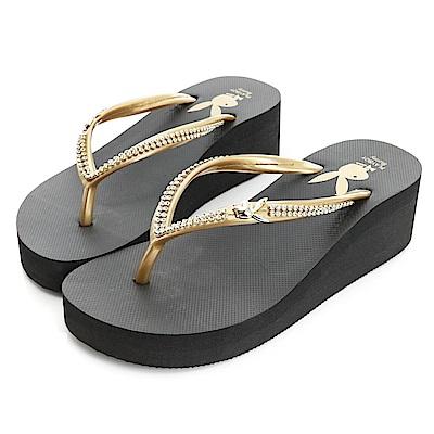 PLAYBOY 耀眼夏日 雙排水鑽厚底夾腳拖鞋-黑金