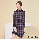 【YIDIE衣蝶】雙色線條方格流蘇短洋裝